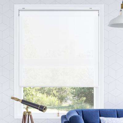 Snap-N'-Glide Urban White Polyester Cordless Horizontal Roller Shades - 31 in. W x 72 in. L
