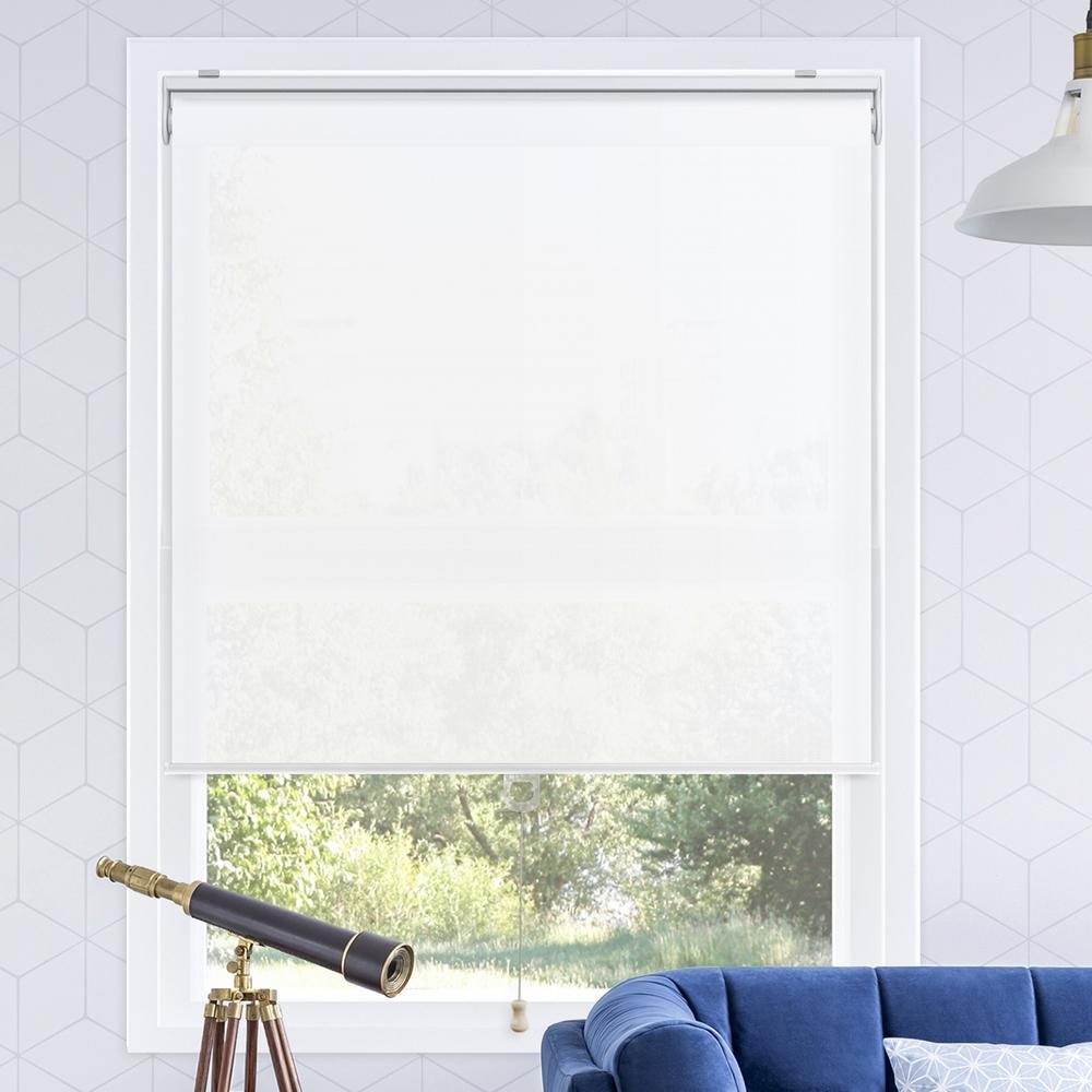 Snap-N'-Glide Urban White Polyester Cordless Horizontal Roller Shades - 35 in.