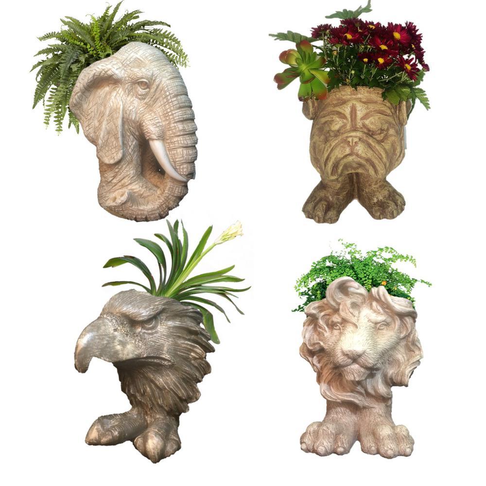 Muggly Mascot Small Animal Statue Planters (Lion, Eagle, Bulldog, Elephant)
