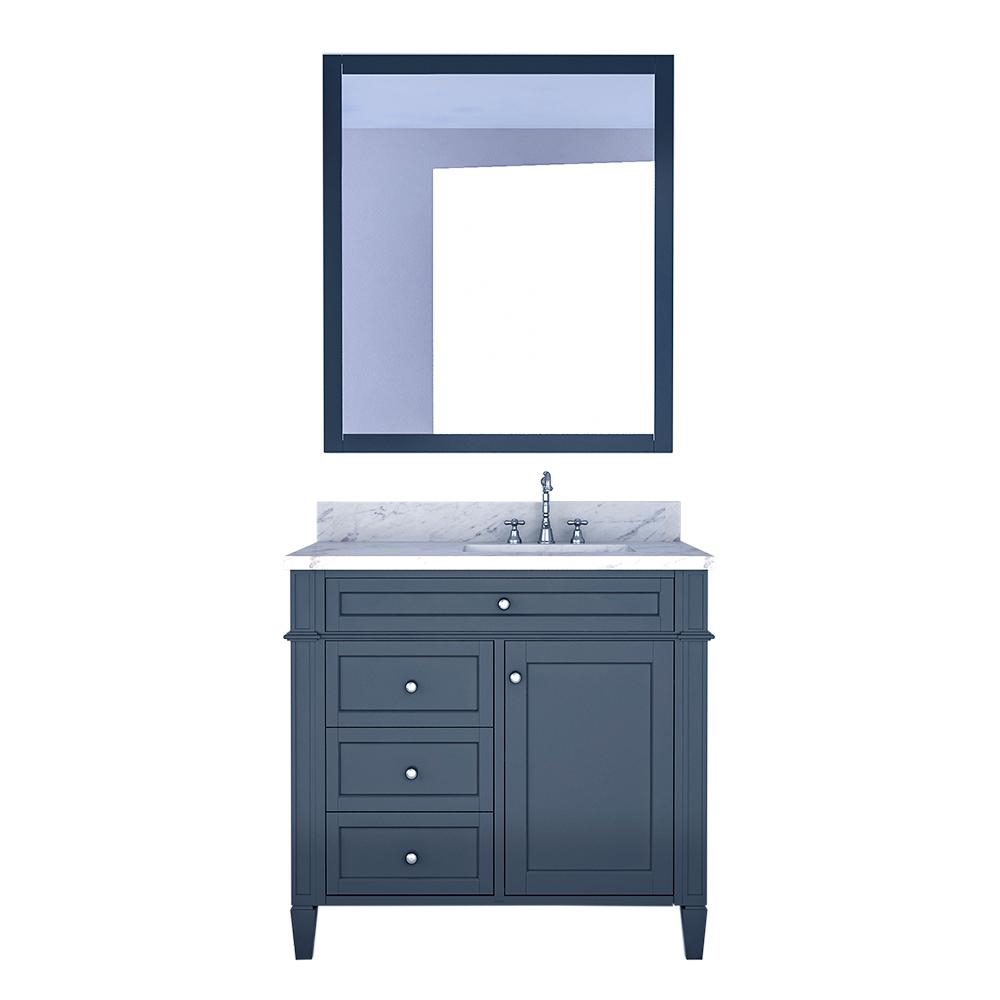 Design Element Birmingham 36 in. W x 22 in. D Bath Vanity in Gray with Marble Vanity Top in White with White Basin and Mirror