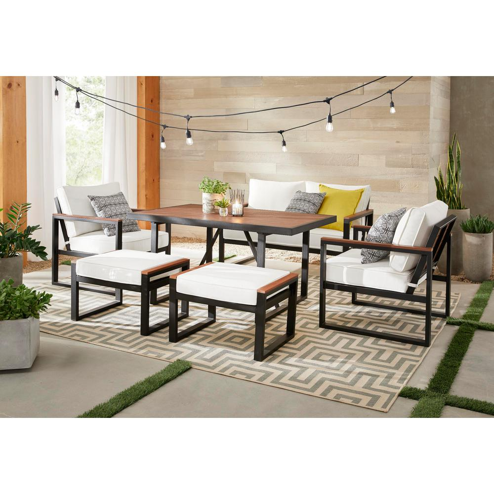 Incredible Hampton Bay West Park 6 Piece Aluminum Rectangle Outdoor Dining Set With Cushionguard White Cushions Ncnpc Chair Design For Home Ncnpcorg