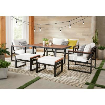 West Park 6-Piece Aluminum Rectangle Outdoor Dining Set with CushionGuard White Cushions