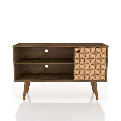 rustic brown and 3d brown print 2 shelf tv stand - Colored Tv Stands