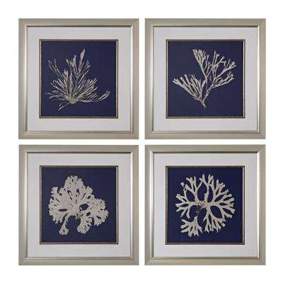 "28 in. x 28 in. ""Seaweed On Navy"" Framed Fine Art Giclee under Glass Wall Art (Set of 4)"