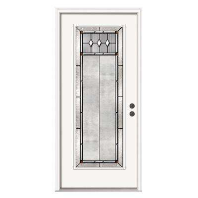 36 in. x 80 in. Full Lite Mission Prairie Primed Steel Prehung Left-Hand Inswing Front Door w/Brickmould