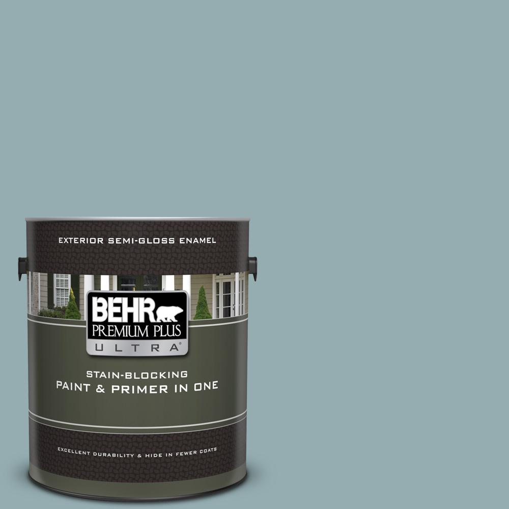Behr Premium Plus Ultra 1 Gal Icc 66 Quiet Moment Semi Gloss Enamel Exterior Paint And Primer In One 585401 The Home Depot
