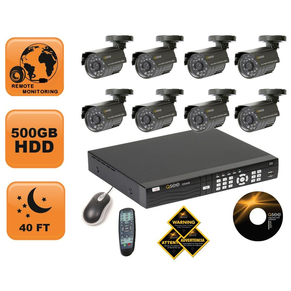 Q-SEE 8 Channel Security Surveillance System with Eight 400 TVL Cameras and a 500GB Hard Drive-DISCONTINUED