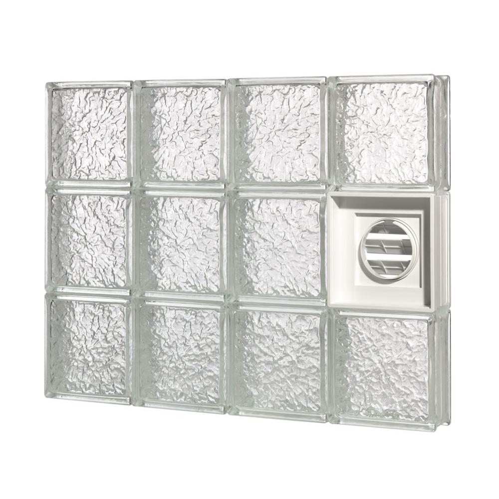 Pittsburgh Corning 31 in. x 29.5 in. x 3 in. GuardWise Dryer-Vented IceScapes Pattern Glass Block Window