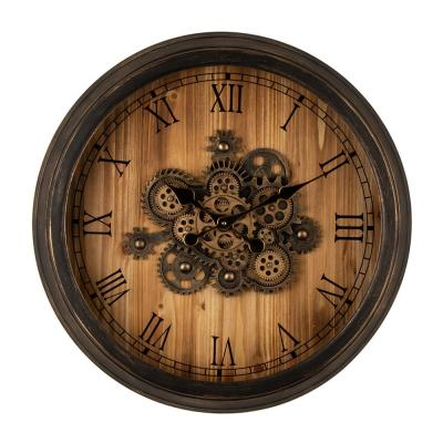 27.76 in. D Vintage Industrial Oversized Wooden/Metal Wall Clock with Moving Gears