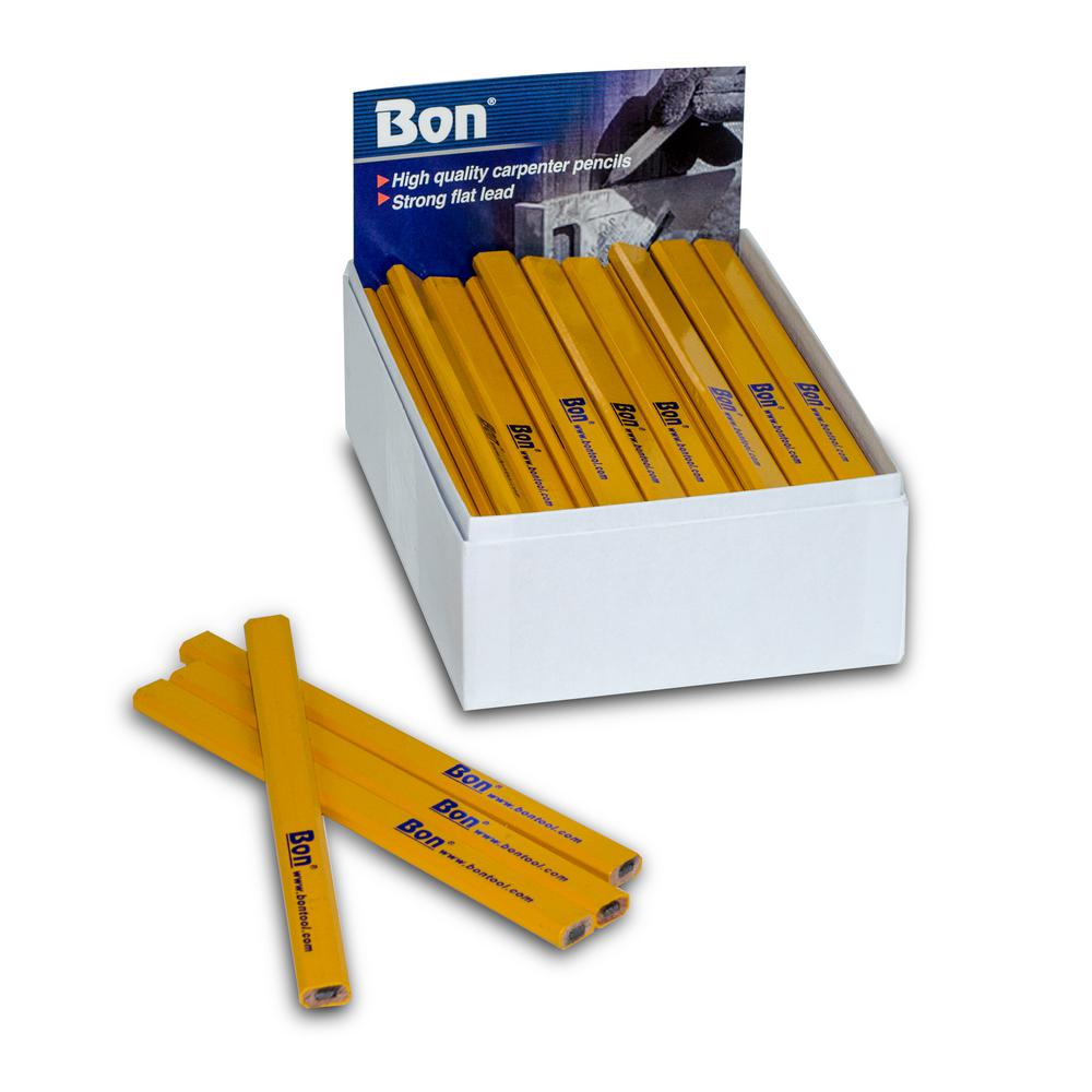 Bon Tool Carpenter Pencils in Yellow Casing Medium Black Lead (72-Pack)