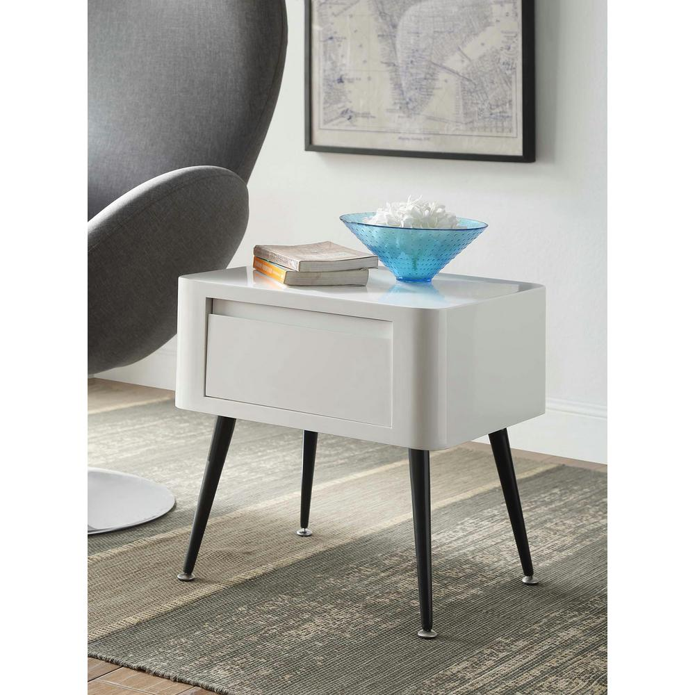 Mid-Century White and Black Storage Side Table