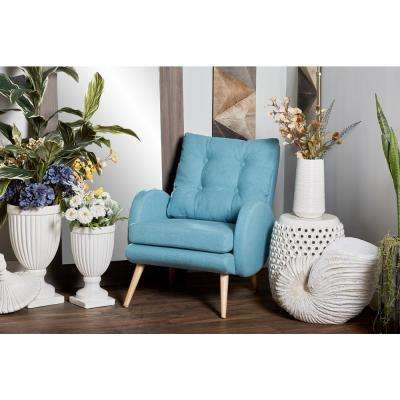 Blue Fabric and Wood Tufted Cushioned Arm Chair
