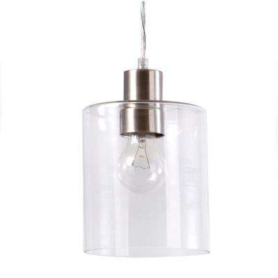 1 Light Brushed Nickel Mini Glass Pendant With 60 Watt Edison Bulb Included