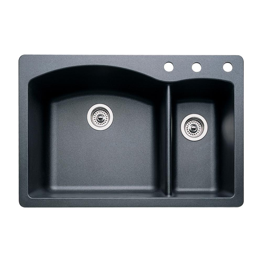Blanco Diamond Dual-Mount Granite 33 in. 3-Hole 70/30 Double Bowl Kitchen  Sink in Anthracite