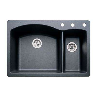 Diamond Dual-Mount Granite 33 in. 3-Hole 70/30 Double Bowl Kitchen Sink in Anthracite