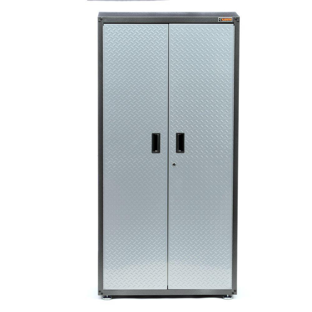 Ready-to-Assemble 72 in. H x 36 in. W x 18 in. D Steel Freestanding Garage Cabinet in Silver Tread
