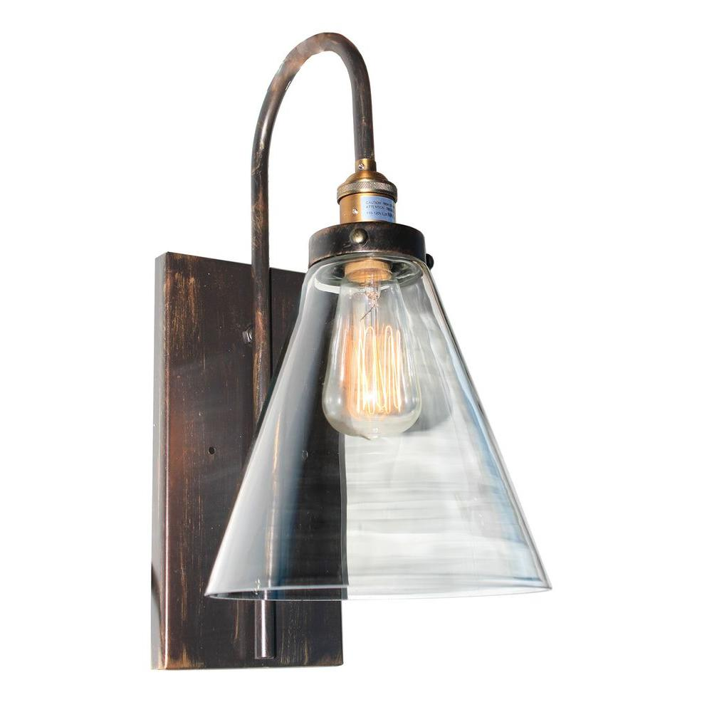 ARTCRAFT Greenwich 1-Light Bronze and Copper Sconce Retro in design, with copper and multi tone brown finishes and clear glassware, the Greenwich Collection is simple and stunning. Available in multi configurations and with 3 different glass shape options