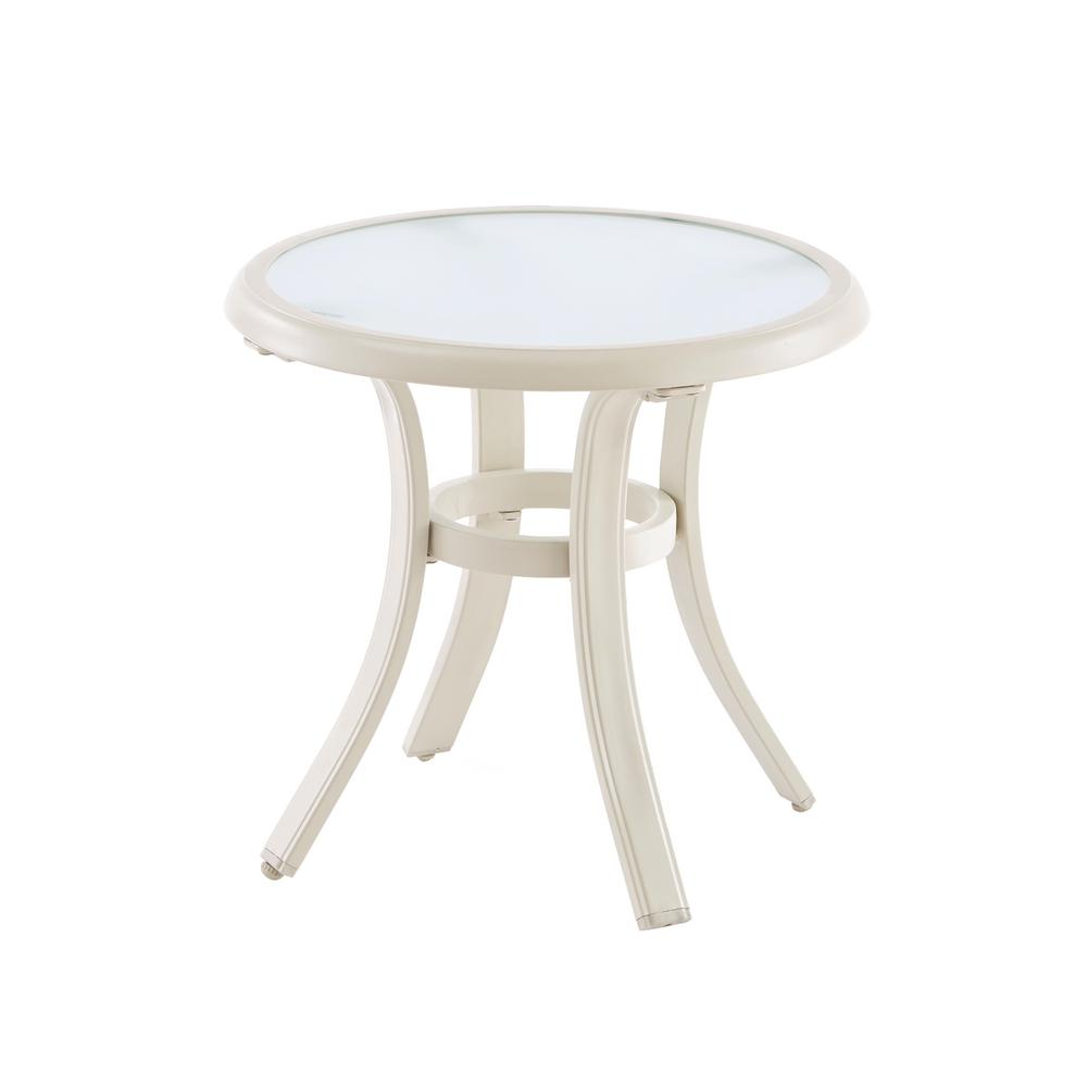 Hampton Bay Statesville Shell Round Aluminum Outdoor Side Table