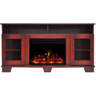 Savona 59 in. Electric Fireplace Heater TV Stand in Cherry with Enhanced Log Display and Remote