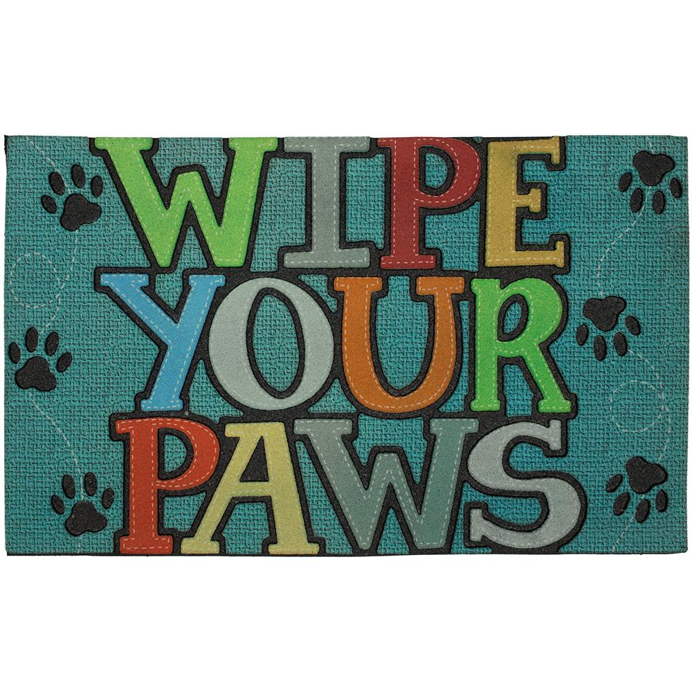 MOHAWK Wipe Your Paws Blue 18 in. x 30 in. Doorscapes Mat...