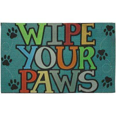 Wipe Your Paws Blue 18 in. x 30 in. Doorscapes Mat