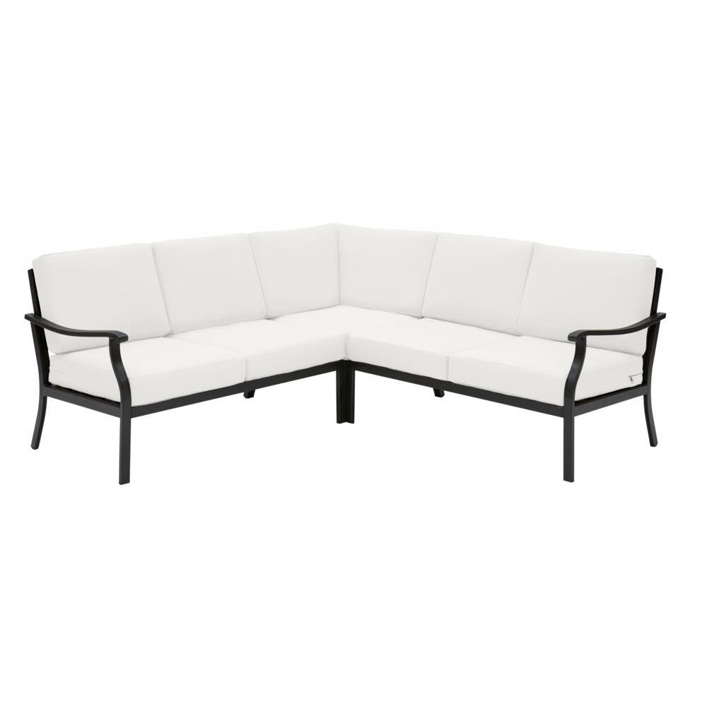 Hampton Bay Riley 3-Piece Black Steel Outdoor Patio Sectional Sofa with CushionGuard Chalk White Cushions was $899.0 now $499.0 (44.0% off)