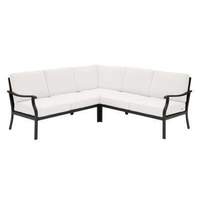 Riley 3-Piece Black Steel Outdoor Patio Sectional Sofa with CushionGuard Chalk White Cushions