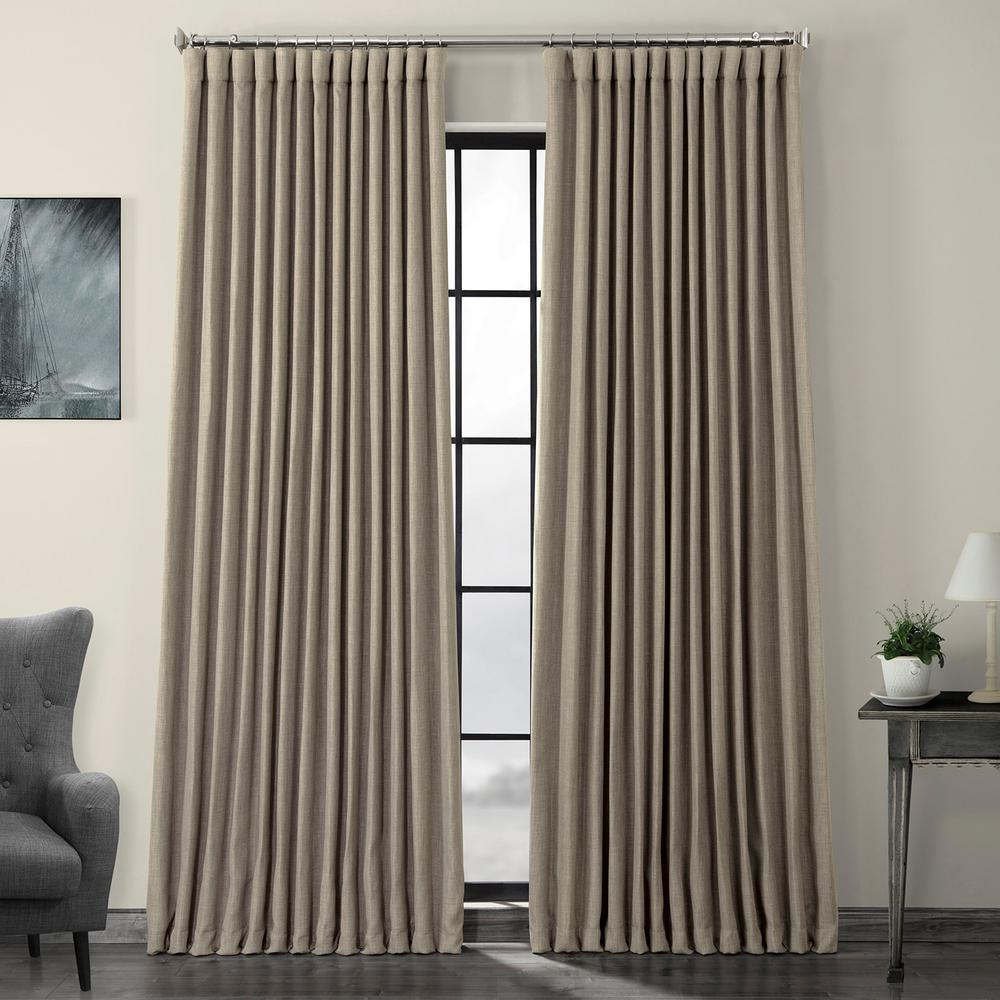 Exclusive Fabrics Furnishings Mink Gray Faux Linen Extra Wide Blackout Curtain 100 In W X 84 In L Bocln18511 84dw The Home Depot
