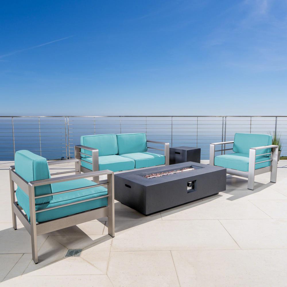 Cape Coral Silver 5-Piece Metal Patio Fire Pit Conversation Set with Canvas Aruba Sunbrella Cushions
