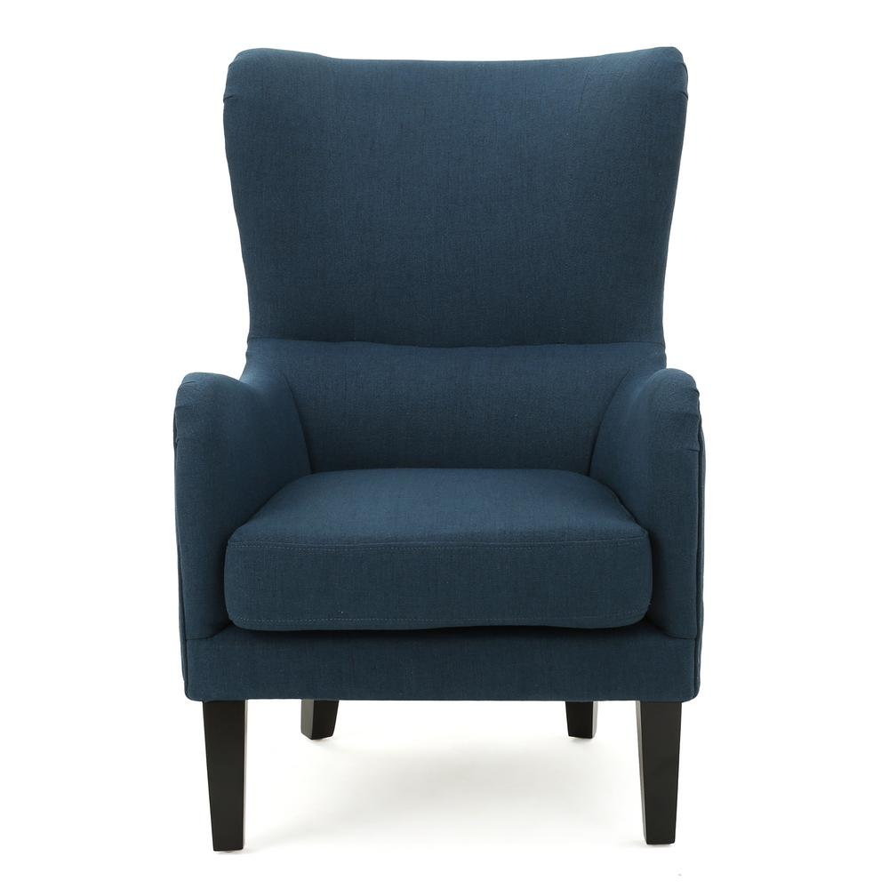 Lorenzo Studded Dark Blue Fabric High Back Club Chair