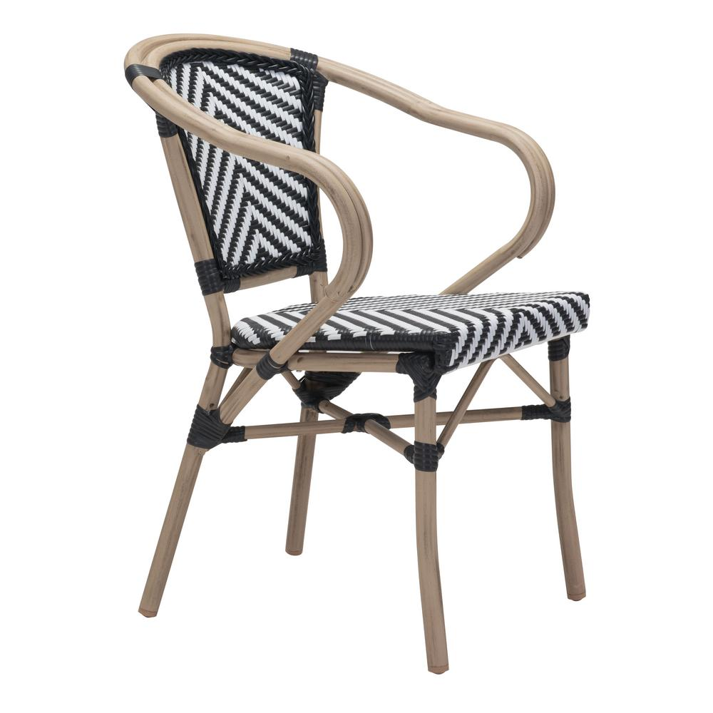 Paris Metal Outdoor Patio Dining Chair in Black and White (Pack