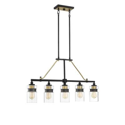 5-Light Bronze with Brass Accents Trestle Pendant