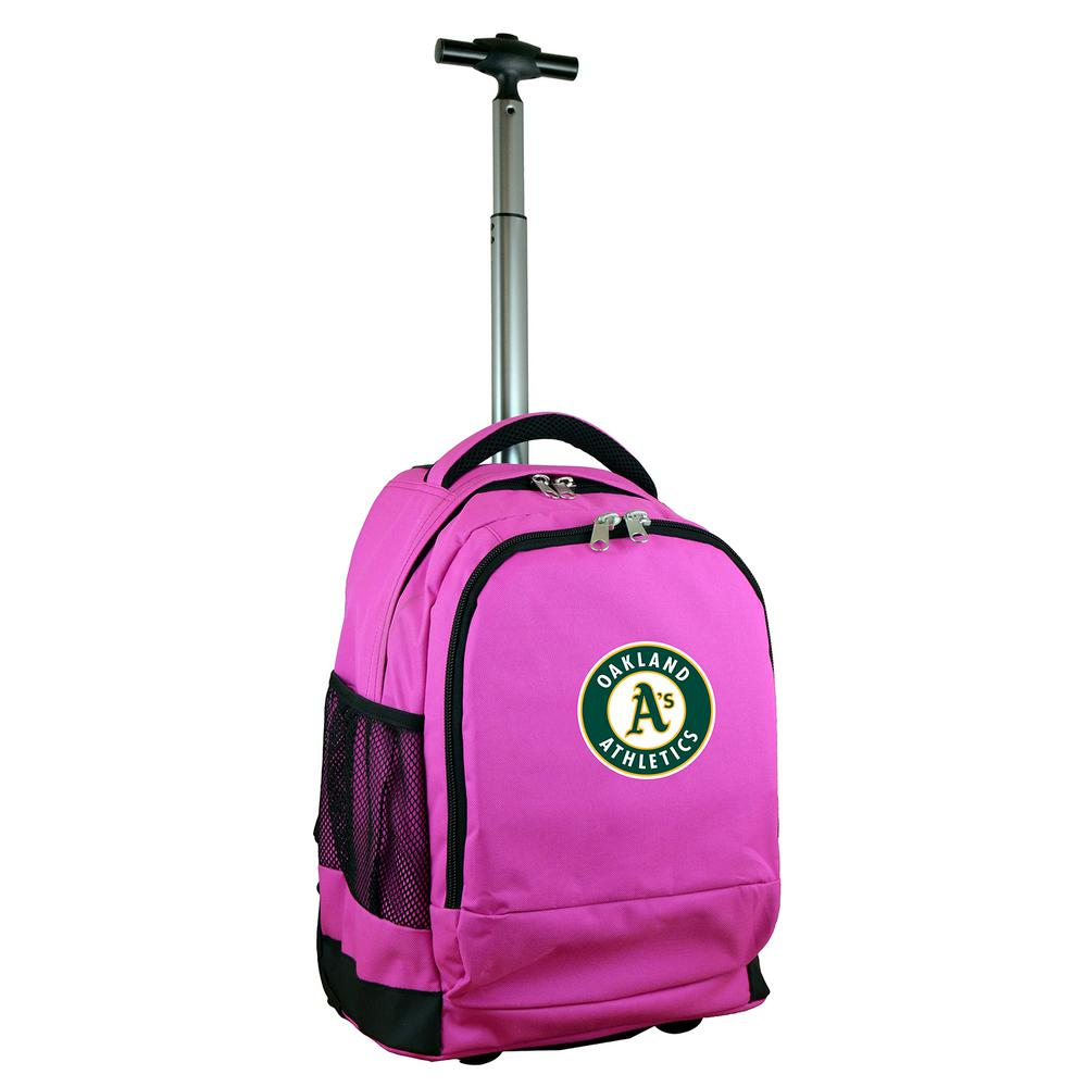 MLB Oakland A's 19 in. Pink Wheeled Premium Backpack