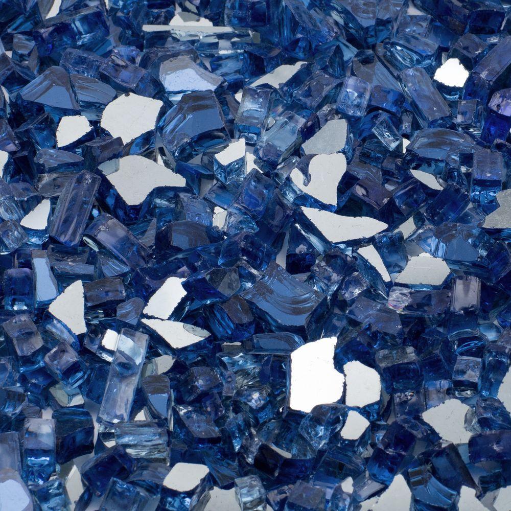 1/2 in. 10 lb. Medium Cobalt Blue Reflective Tempered Fire Glass