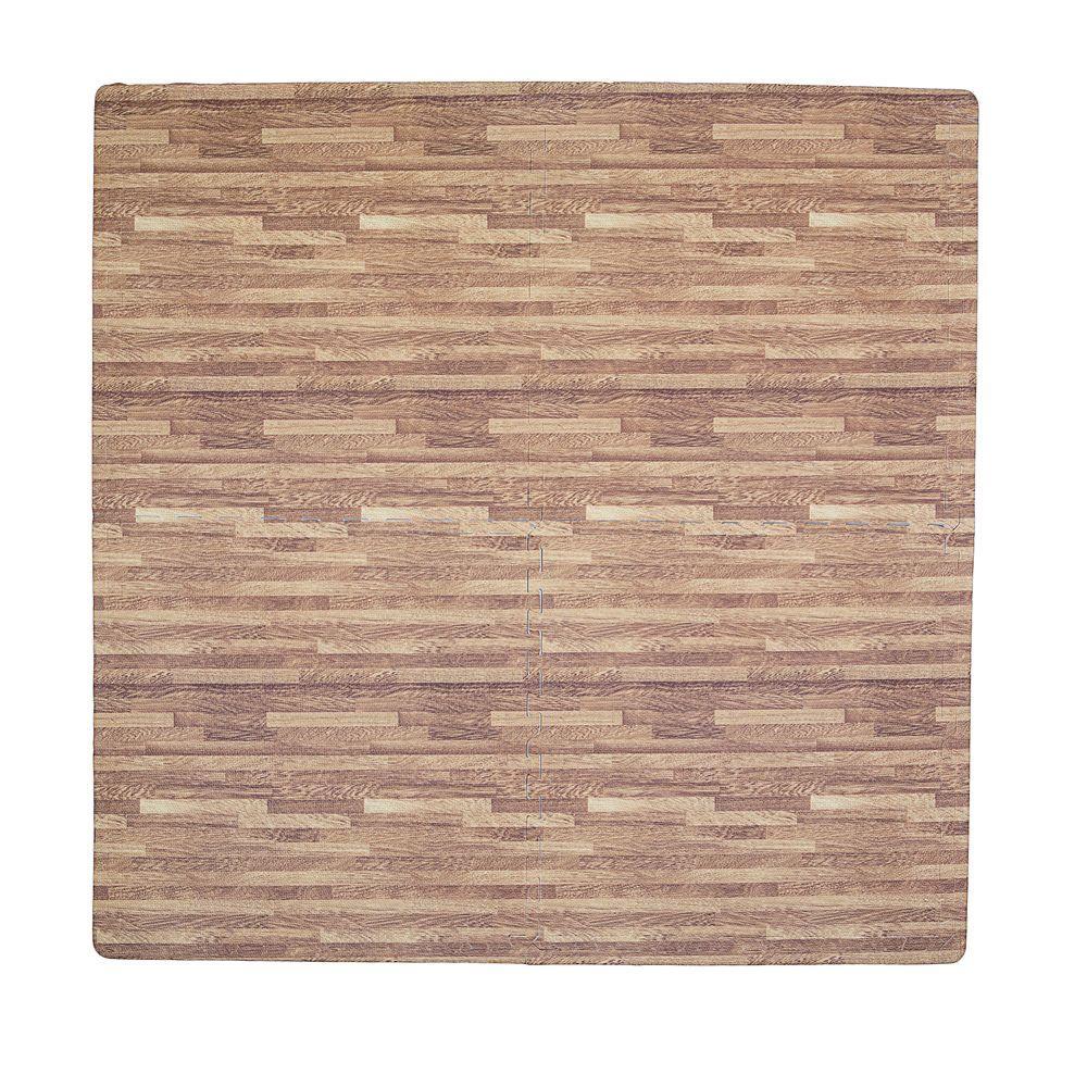 Wood Print Dark Oak 50 in. x 50 in. EVA Floor Mat Set