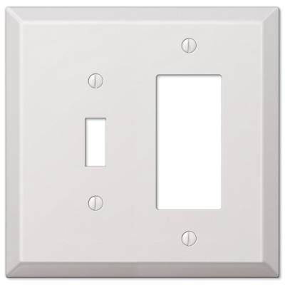 Oversized 2 Gang 1-Toggle and 1-Rocker Steel Wall Plate - White