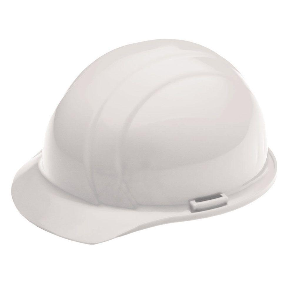 4 Point Plastic Suspension Mega Ratchet Cap Hard Hat in White