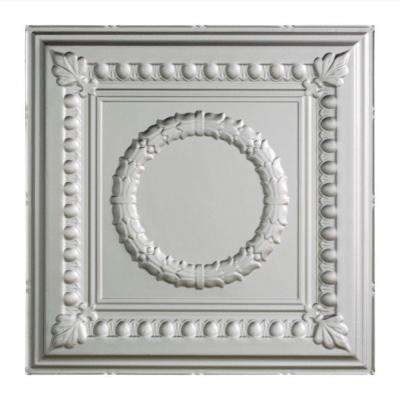 Rosette - 2 ft. x 2 ft. Lay-in Ceiling Tile in Argent Silver