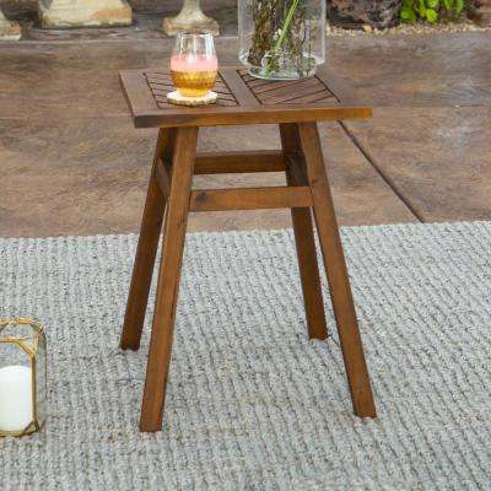 Dark Brown Acacia Wood Outdoor Side Table