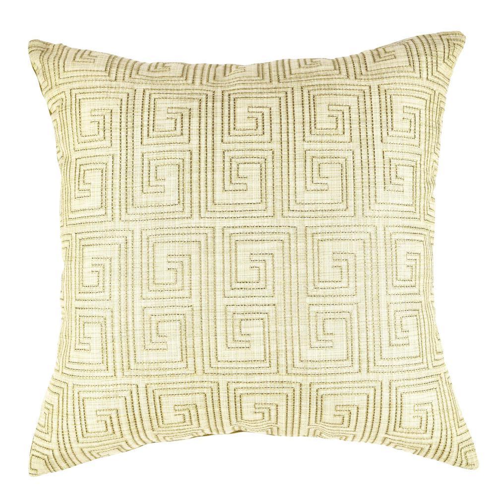 Tan Geometric Pattern Designer Throw Pillow
