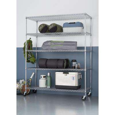 5-Tier Heavy Duty Wire 60 in. x 24 in. x 72 in. Shelving Rack with Wheels in Chrome