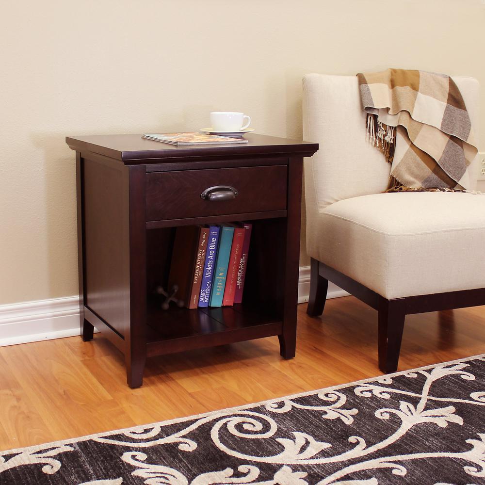 Lindendale 1-Drawer Espresso Side Table