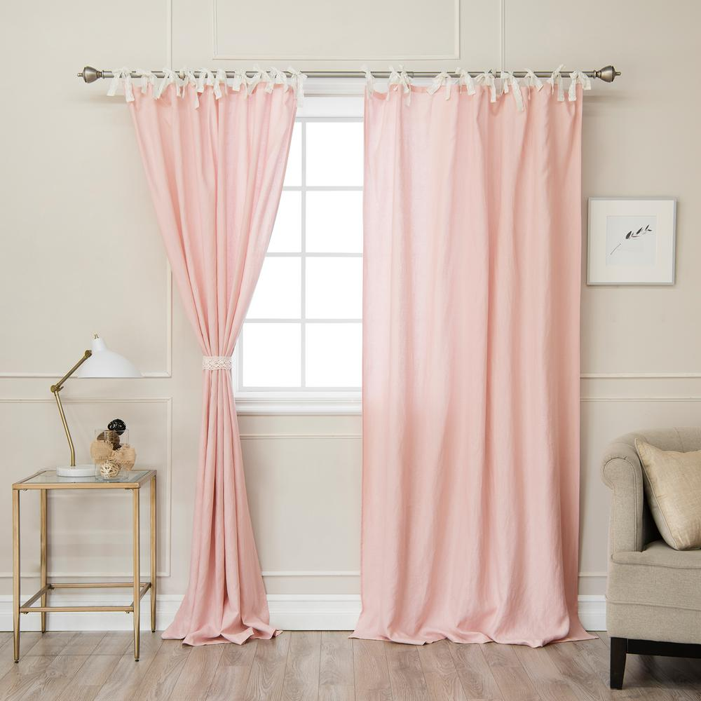 Best Home Fashion Pink 84 In L. Abelia Belgian Flax Linen Lace Tie Top  Curtain