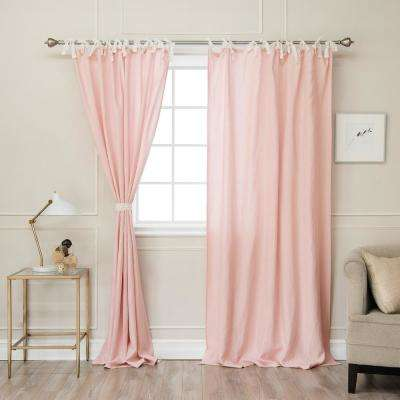 Pink 84 In L Abelia Belgian Flax Linen Lace Tie Top Curtain Panel