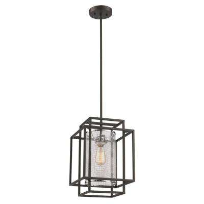1-Light Black and Chrome Geometric Industrial Pendant