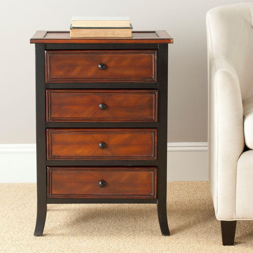 Safavieh Shannon Black and Brown Side Table