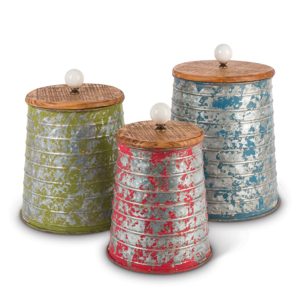 Worn Metal Canisters (Set of 3)