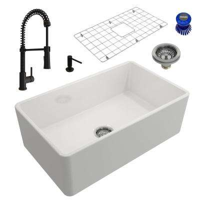 Classico All-in-One Farmhouse Fireclay 30 in. Single Bowl Kitchen Sink with Livenza Rubbed Bronze Faucet and Soap Disp