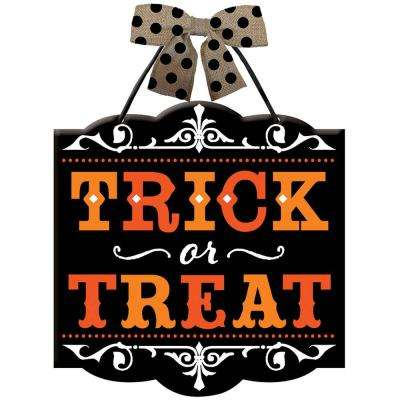 12 in. x 11.75 in. Halloween Trick or Treat Sign (4-Pack)