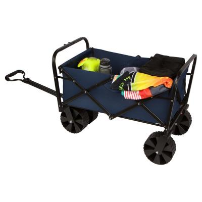 31 in. Steel Framed Folding All Terrain Beach Cart Wagon with Cover in Blue